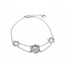Damhsa Trinity  Heart CZ Irish Bangle Bracelet