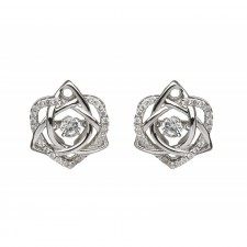 Damhsa Trinity & Heart CZ Irish Earrings