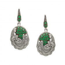 Danu Drop Irish Earrings With Green CZ