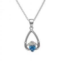 December-Blue Topaz Birthstone Claddagh Pendant