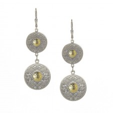 Double Celtic Warrior Earrings-Silver with 18K Gold Bead