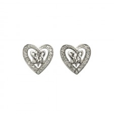 Double Intertwined Heart Irish Earrings