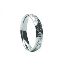 Gents Court Shaped Claddagh Band 14k white Gold