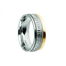 Grá Geal Mo Chroí Siora II Irish Wedding Band White Yellow Gold