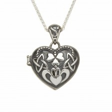 Heart Shamrock Claddagh Irish Locket Pendant