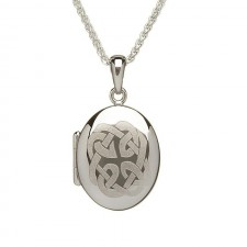 Irish Celtic Knot Engraved Oval Locket Pendant