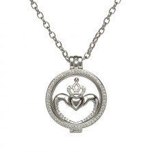 Irish Claddagh Disc Pendant with Cubic Zirconia