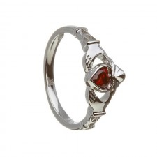 Birthstone Claddagh Ring January Garnet
