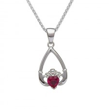 Birthstone Claddagh Pendant July-Ruby
