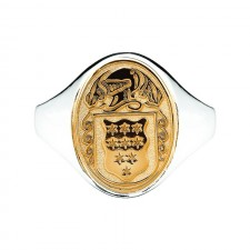 Ladies Hollow Back Oval Family Coat Of Arms Ring Two Tone