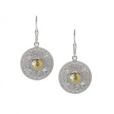 Large Celtic Warrior Earrings-Silver with 18K Gold Beads