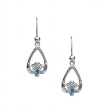 March-Aquamarine Birthstone Claddagh Earring
