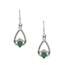 May-Emerald Birthstone Claddagh Earrings