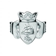 Mens Family Coat of Arms Claddagh Ring Sterling Silver
