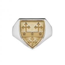 Mens Heavy Shield Coat of Arms Ring Two Tone