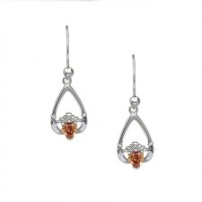 November-Citrine Birthstone Claddagh Earrings