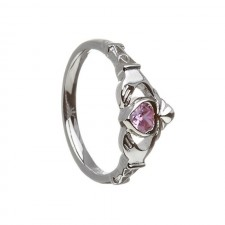 October-Pink Tourmaline Birthstone Claddagh Ring