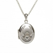 Oval Embossed Irish Claddagh Locket Pendant