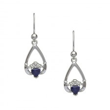 September-Blue Sapphire Birthstone Claddagh Earrings