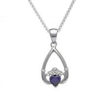September-Blue Sapphire Birthstone Claddagh Pendant