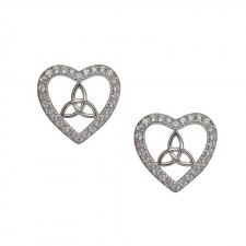 Stone Set Irish Trinity Knot Heart Earrings