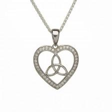 Stone Set Trinity Knot Heart Irish Pendant
