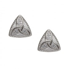 Studded Celtic Trinity Knot Irish Earrings with CZ