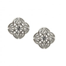 Tetrad Trinity Knot Irish Earrings with CZ