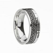 Trinity Faith Etched Irish Wedding Band Sterling Silver