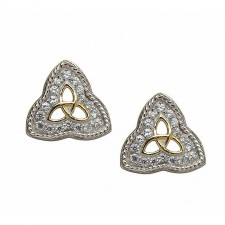 Trinity Rope Edged CZ Irish Earrings
