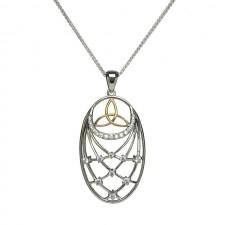 Trinity Stone Set Interlaced Irish Pendant