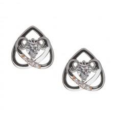 Upside Down Heart Irish Claddagh Earrings with Cubic CZ