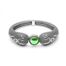 Wood Quay Green Stone Raised Irish Bangle Bracelet