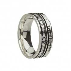 Claddagh Faith Irish Wedding Band Sterling Silver