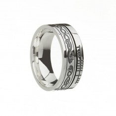 Le Cheile Together Faith Irish Wedding Band Sterling Silver