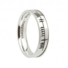 Sonas Ogham Etched Irish Wedding Band Sterling Silver